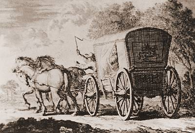 Fluchtwagen aus der Schweiz<br />Zeichnung 18. Jhd.